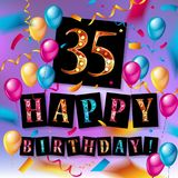 Color 35 th birthday celebration. Color full pink 35 th birthday celebration greeting card design, birthday party poster background with balloon, ribbon and gift Stock Photos