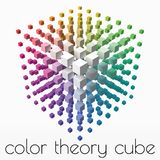 Color theory cube with small cubes on corners. 3d style vector illustration. Suitable for any banner, ad, technology and abstract themes stock illustration