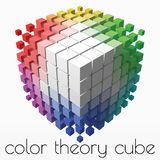 Color theory cube with small cubes on corners. 3d style vector illustration. Suitable for any banner, ad, technology and abstract themes royalty free illustration