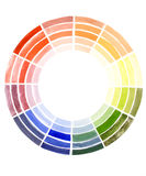 Color theory. Watercolor paints coloristics isolated Royalty Free Stock Photos