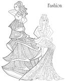 Color Therapy: Fashion. Anti-Stress Coloring Book. A pair of girls in long dresses.  Stock Image