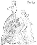Color Therapy: Fashion. Anti-Stress Coloring Book. A pair of girls in long dresses.  Stock Images
