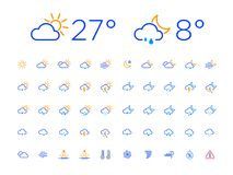 Color Thin Line Day Night Weather Icon Set. Set of 50 simple modern thin line weather icons for web or mobile app. Clean sharp outline flat design with day and royalty free illustration