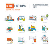 Color thin Line icons set. Royalty Free Stock Photography