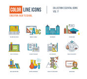 Color thin Line icons set. Stock Images