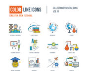 Color thin Line icons set. Back to school, success in education, science research, teaching student, learning languages, chemical test, shedule, global Stock Photos
