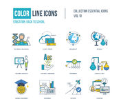 Color thin Line icons set. Back to school, success in education, science research, teaching student, learning languages, chemical test, shedule, global Royalty Free Stock Photos