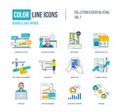 Color thin Line icons set. Business project and planning, mobile marketing, application development, online education, financial report, investment growth Stock Image