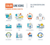 Color thin Line icons set. Stock Photography