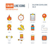 Color thin Line icons set. Healthy lifestyle and sport Royalty Free Stock Photography