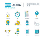 Color thin Line icons set. Healthy lifestyle and sport. Ping-pong, award, strength training, mobile app, sports watch. Colorful logo and pictograms Royalty Free Stock Photography