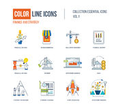 Color thin Line icons set. Logo and pictograms for websites, banners, infographic illustrations. Financial strategy, mobile marketing, strategic planning Stock Photos