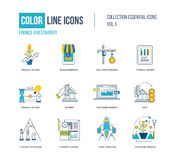 Color thin Line icons set. Logo and pictograms for websites, banners, infographic illustrations. Financial strategy, mobile marketing, strategic planning Royalty Free Stock Photography