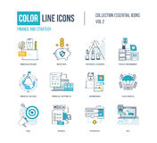 Color thin Line icons set. Logo and pictograms for websites, banners, infographic illustrations. Financial success, project management, protection, investment Royalty Free Stock Image