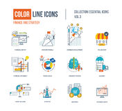 Color thin Line icons set. Logo and pictograms for websites, banners, infographic illustrations. Project management, business development, strategy, social Royalty Free Stock Images
