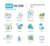 Color thin Line icons set. Logo and pictograms for websites, banners, infographic illustrations. Project management, business development, strategy, social Stock Image