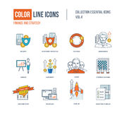 Color thin Line icons set. Logo and pictograms for websites, banners, infographic illustrations. Security, investment, exchange, businessman, leader, planning Royalty Free Stock Photography