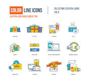 Color thin Line icons set. Online shopping, mobile marketing, super sale, investment, logistics, delivery service, business protection. Colorful logo and Royalty Free Stock Photo