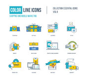 Color thin Line icons set. Online shopping, mobile marketing, super sale, investment, logistics, delivery service, business protection. Colorful logo and Stock Images
