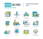 Color thin Line icons set. Primary education, back to school Stock Image