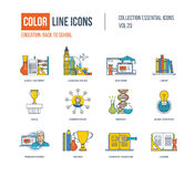 Color thin Line icons set. School equipment, language Royalty Free Stock Image