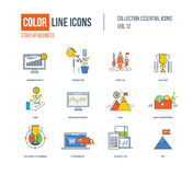 Color thin Line icons set. Stock Photo