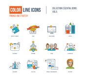 Color thin Line icons set. Royalty Free Stock Images