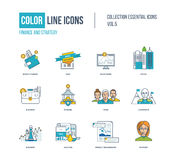 Color thin Line icons set. Super sale, investment, strategy for success, money storage, office buiding, protection and storage, our team, project management Royalty Free Stock Photo