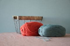 Yarn balls and basket. Color thread for knitting. Colors concept royalty free stock photo
