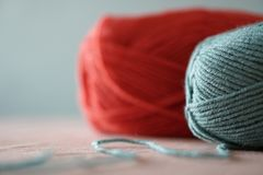Color thread for knitting. Yarn balls. Colors concept stock photography