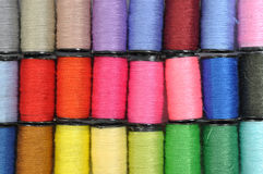Color threads. Macro multi color threads background Stock Image
