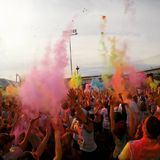 Color Throw. At a Color Me Rad 5k Royalty Free Stock Photography