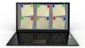 Color  thumbtack and laptop on white background, 3D Stock Photo