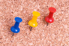 Color Thumtacks in a Cork Surface. Color Push Pins in a Cork Surface Royalty Free Stock Images