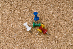 Free Color Thumtacks In A Cork Surface Stock Photos - 5499373