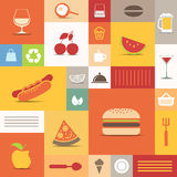 Color tiles with food icons Royalty Free Stock Images