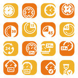 Color time icons. Elegant colorful clock icons set created for mobile, web sites and applications Vector Illustration