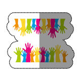 Color together hands up icon Royalty Free Stock Photos