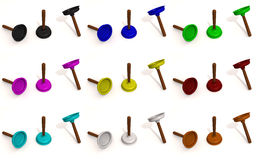 Color toilet plungers Royalty Free Stock Images