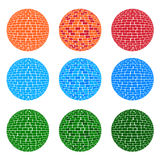 3 color tone sphere brick pattern. 3 style vector brick sphere shape Stock Photography