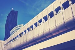 Color toned futuristic Vienna city train infrastructure. Royalty Free Stock Photos
