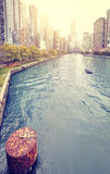 Color toned picture of Chicago downtown at sunset, USA Royalty Free Stock Photo
