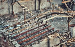 Color toned picture of a destroyed building. Royalty Free Stock Image