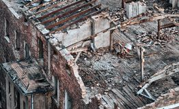 Color toned picture of a destroyed building. Royalty Free Stock Photo