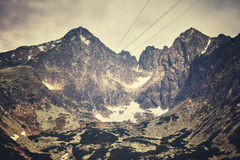Color toned picture of Lomnicky peak, Slovakia. Stock Photography