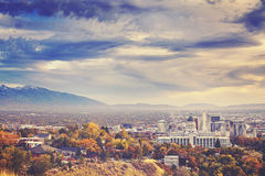 Color toned picture of Salt Lake City downtown, USA. Color toned picture of Salt Lake City downtown, Utah, USA Stock Image