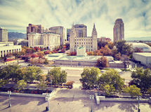 Color toned picture of Salt Lake City downtown, Utah, USA.  Stock Images
