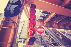 Color toned traffic lights under a movable bridge in Chicago Royalty Free Stock Images