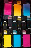 Color toner cartridges used laser printing stock photo