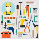 Color tools for repair and home improvement. Vector illustration Royalty Free Stock Photo